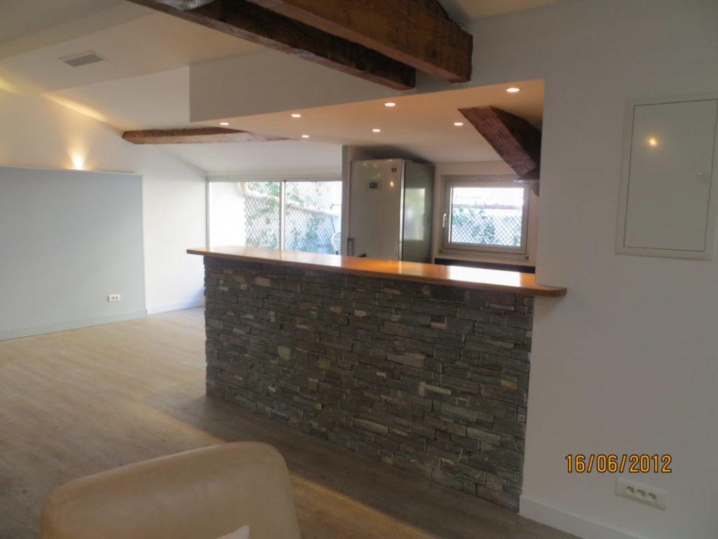 travaux de rénovation intérieure : séjour, chambre, cuisine, salle