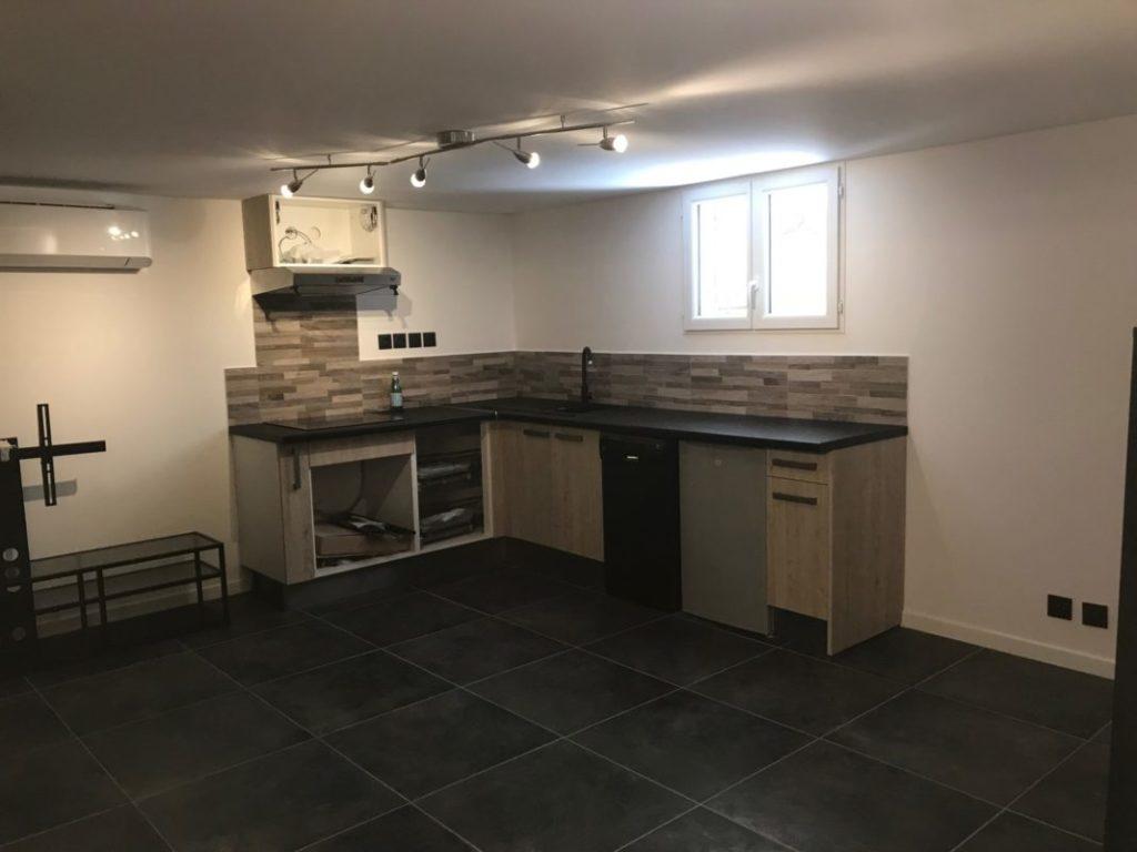 création d'une cuisine lors de la rénovation d'un appartement à aubagne
