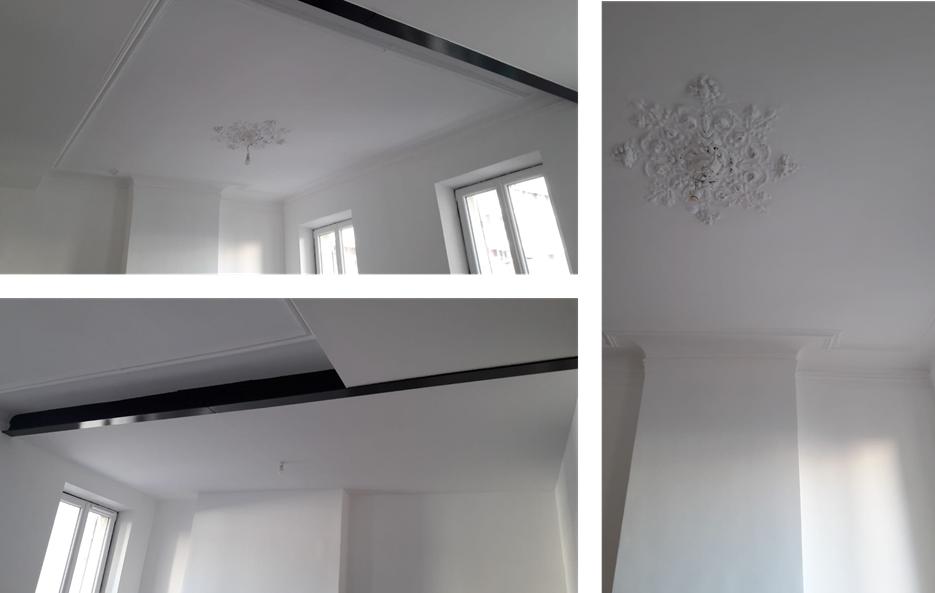 Plafond rénové avec moulure dans la pièce à vivre