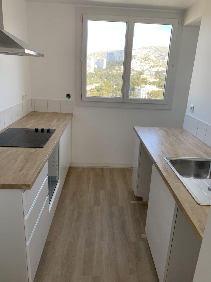 cuisine après travaux appartement boulevard michelet 13009