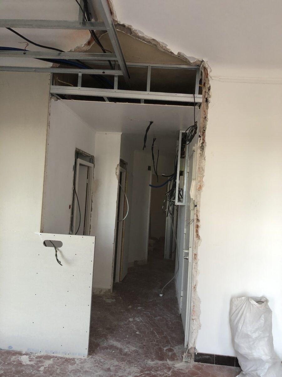 ouverture d'une cloison pendant travaux renovation appartement 13002 marseille